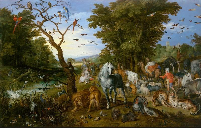 Брейгель Ян I (Бархатный) (1568 Брюссель - 1625 Антверпен) - Ной собирает животных для ковчега (55х84 см) 1613. Музей Гетти