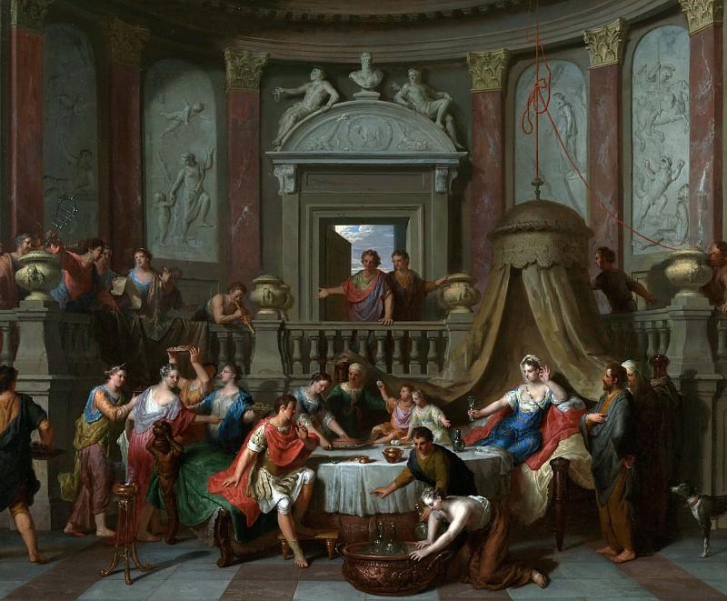 Хут Герард I (1648 Зальтбоммель - 1733 Гаага) - Пир Клеопатры (57х69 см) 1700-10. J. Paul Getty Museum