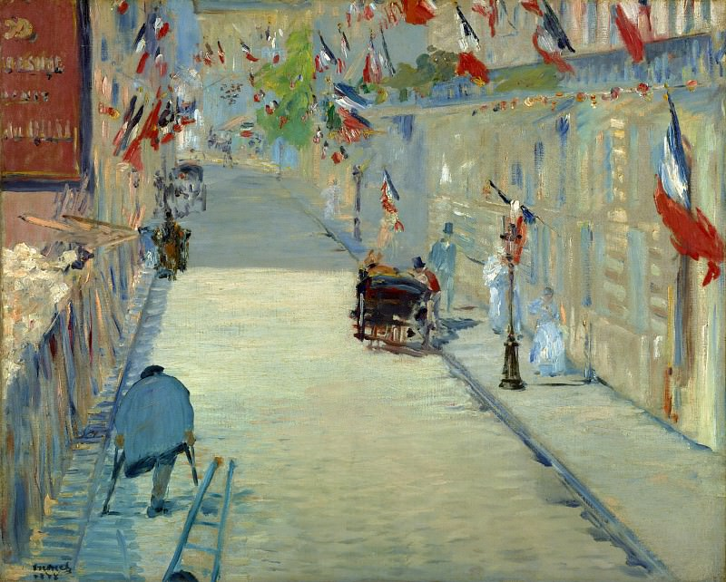 The Rue Mosnier with Flags. Édouard Manet