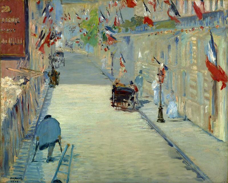 Мане Эдуард (Париж 1832-1883) - Улица Монье с флагами (65х80 см) 1878. J. Paul Getty Museum