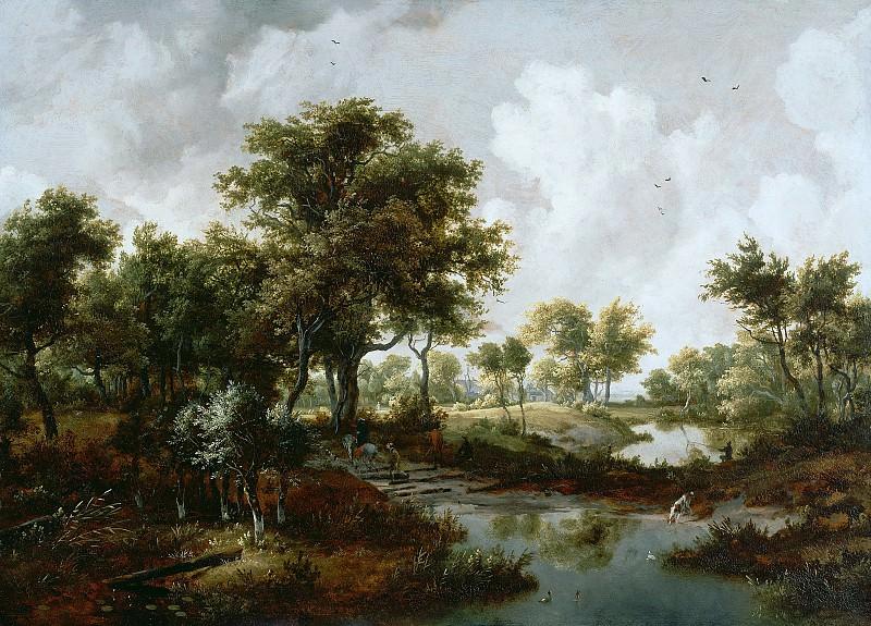 Хоббема Мейндерт (Амстердам 1638-1709) - Лесной пейзаж с путниками (96з131 см) ок1665. J. Paul Getty Museum
