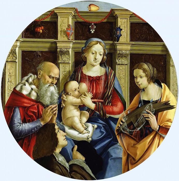 Микеланджело ди Пьетро Мембрини (Менкерини)(раб в Лукке 1489-1521) - Мадонна с младенцем, святой, Екатерина Александрийская и донатор (101см см) ок1500. Музей Гетти