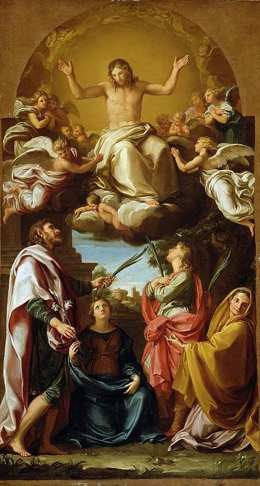 Батони Помпео Джироламо (1708 Лукка - 1787 Рим) - Христос в славе с четырьмя святыми (63х34 см) 1736-38. J. Paul Getty Museum