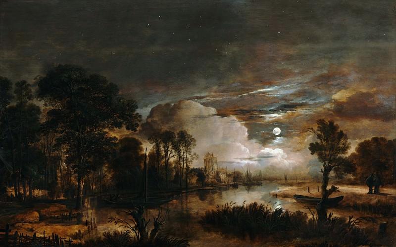 Нер Арт ван дер (Амстердам 1603-1677) - Ноктюрн с видом на реку Новый Амстель и замок Костверлорен (58х91 см) 1647. J. Paul Getty Museum