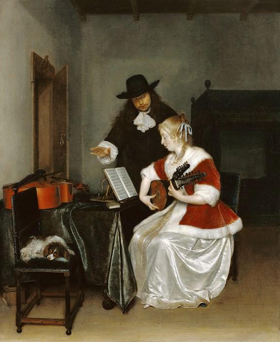 Терборх Герард II (1617 Зволле - 1681 Девентер) - Урок музыки (67х55 см) ок1668. Музей Гетти