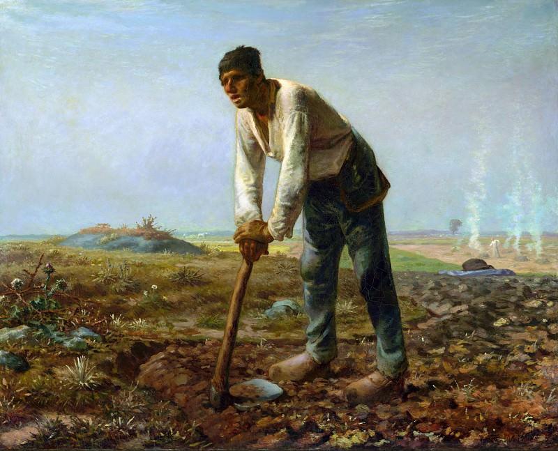 Милле Жан-Франсуа (1814 Грюши близ Шербура - 1875 Барбизон) - Крестьянин с мотыгой (80х99 см) 1860-62. J. Paul Getty Museum