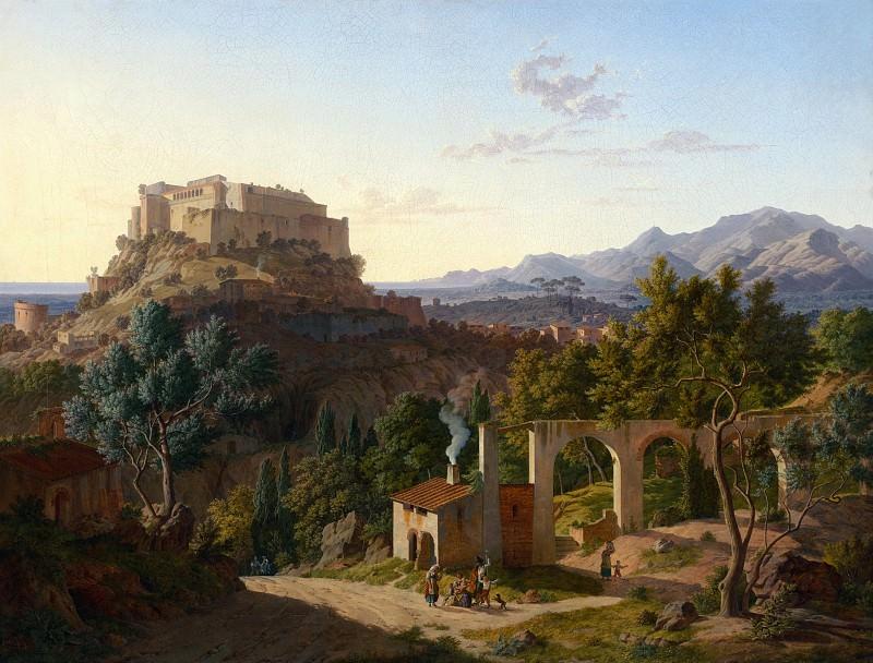 Кленце Лео фон (1784 Бокенем - 1864 Мюнхен) - Пейзаж с замком Масса ди Каррара (77х101 см) 1827. J. Paul Getty Museum