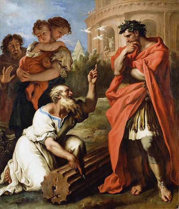 Риччи Себастьяно (1659 Беллуно - 1734 Венеция) - Тарквиний Древний вопрошает Аттия Навия (162х138 см) ок1690. J. Paul Getty Museum