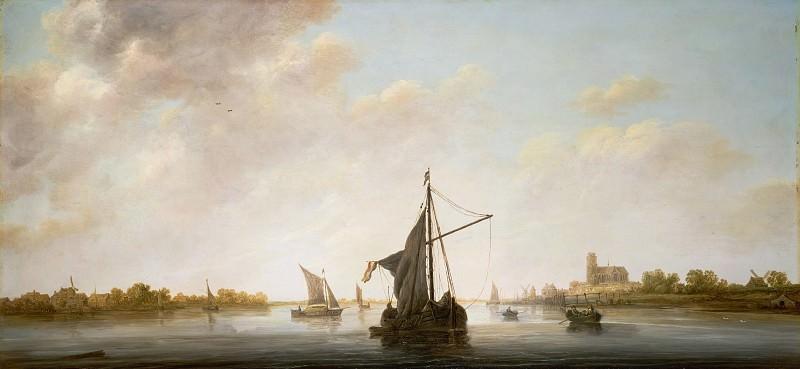 Кейп Альберт (Дордрехт 1620-1691) - Вид Мааса в Дордрехте (50х107 см) ок1645. J. Paul Getty Museum