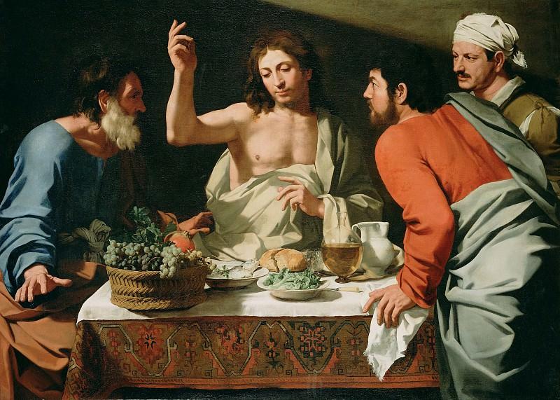 Кавароцци Бартоломео (1590 Витербо - 1625 Рим) - Ужин в Эммаусе (140х194 см) 1615-25. Музей Гетти