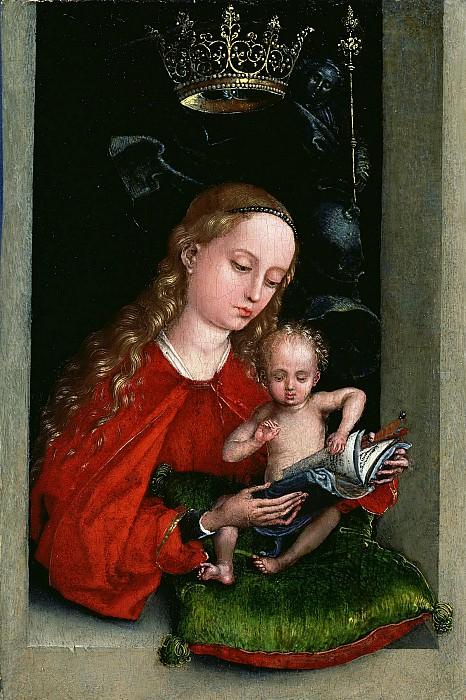 Шонгауэр Мартин (ок1430 Кольмар - 1491 Брейсбах) - Мадонна с младенцем в окне (16х11 см) 1485-90. J. Paul Getty Museum