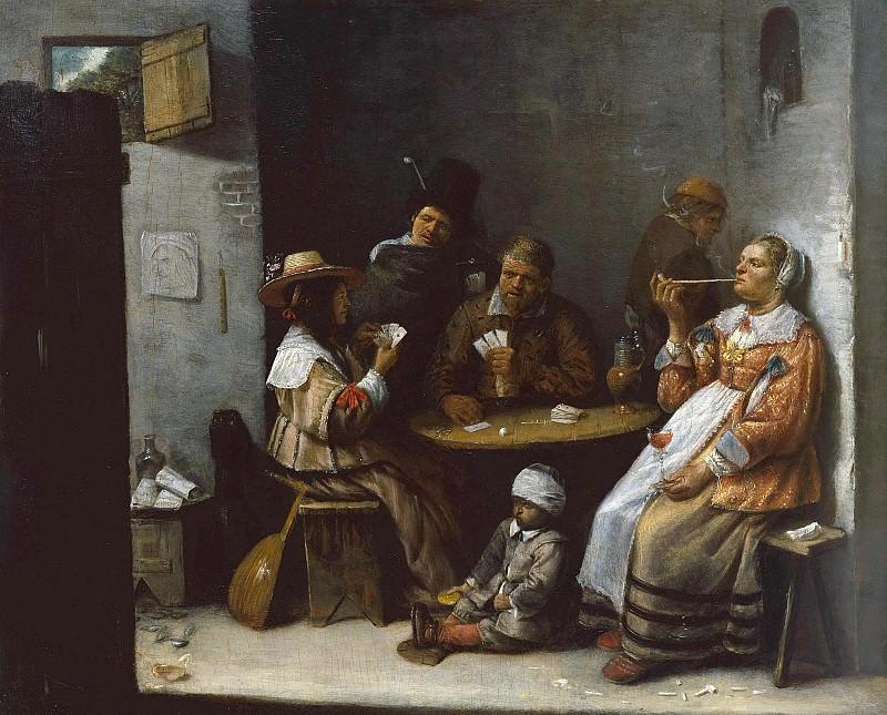 Красбек Йос ван (ок1605 Нерлинтер - 1662 Брюссель) - Картежники (30х38 см) ок1645. Музей Гетти