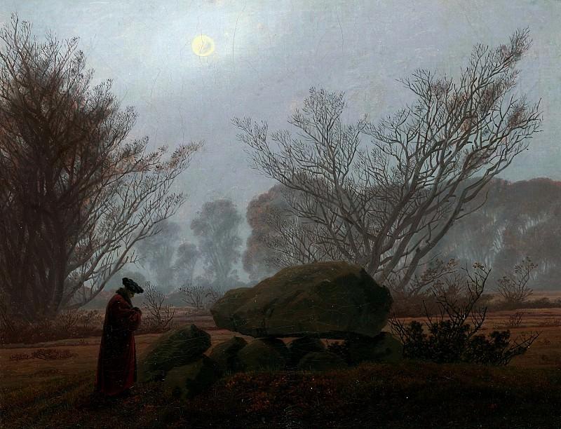 Фридрих Каспар Давид (1774 Грайфсвальд - 1840 Дрезден) - Прогулка в сумерках (33х43 см) 1830-35. J. Paul Getty Museum