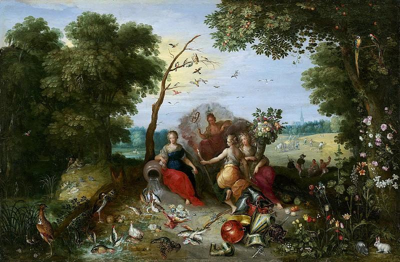Брейгель Ян II (Антверпен 1601-1678) - Аллегория четырех элементов (53х81 см) 1630-е. J. Paul Getty Museum