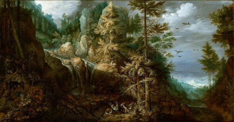 Саверей Рулант Якобс (1576 Куртре - 1639 Утрехт) - Пейзаж с искушением св Антония (51х84 см) 1617. Музей Гетти