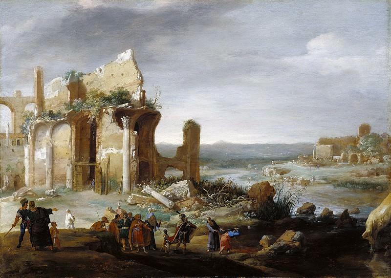 Бренберг Бартоломеус (1598 Девентер - 1657 Амстердам) - Моисей и Аарон превращают египетскую реку в кровь (58х83 см) 1631. J. Paul Getty Museum