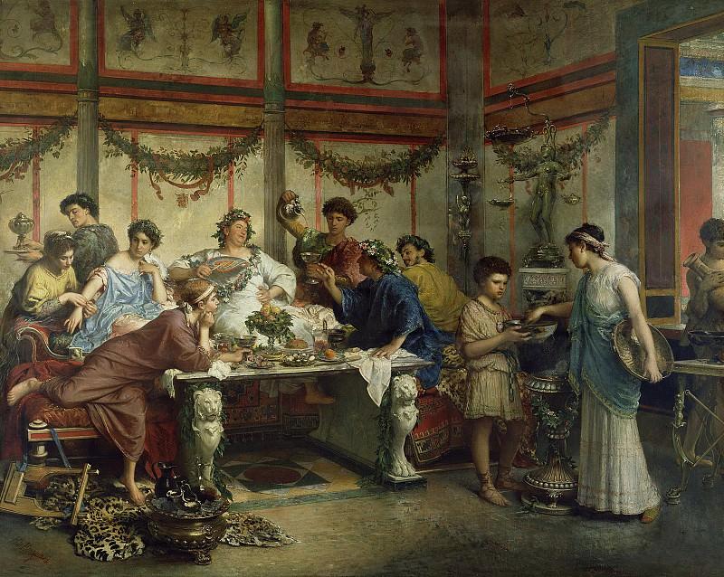 Бомпиани Роберто (Рим 1821-1908) - Древнеримское застолье (127х164 см) 1890-е. J. Paul Getty Museum