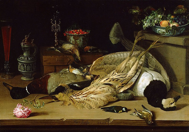 Берге Кристофель ван ден (Миддельбург ок1590 - ок1642) - Натюрморт с битой птицей (72х100 см) 1624. Музей Гетти