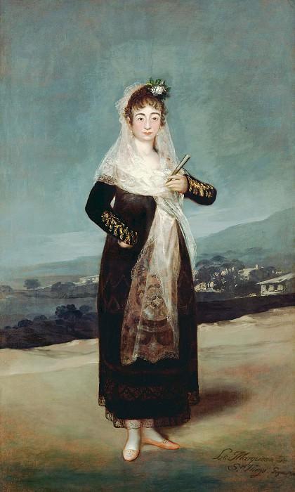 Гойя-и- Лусиентес Франсиско де (1746 Фуендетодос - 1828 Бордо) - Портрет маркизы Сантьяго (209х126 см) 1804. Музей Гетти