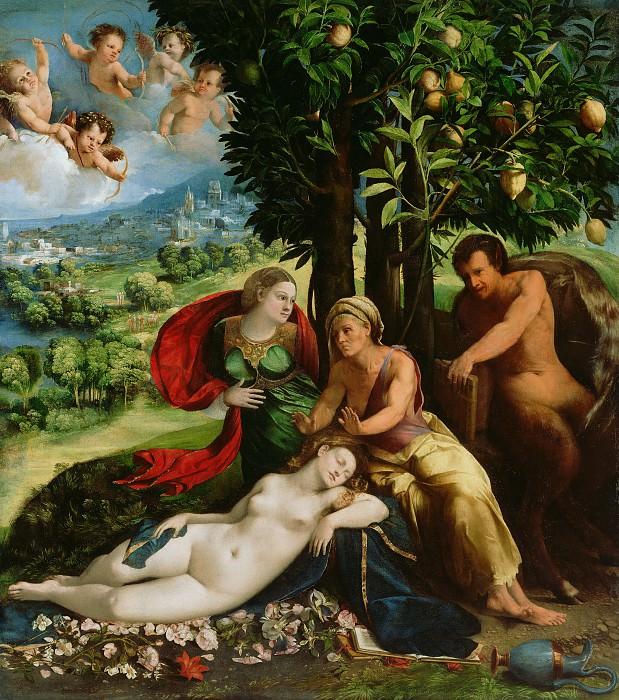 Досси Доссо (Джованни ди Лутеро) (Феррара ок1489 - 1542) - Мифологическая сцена (164х145 см) ок1524. Музей Гетти