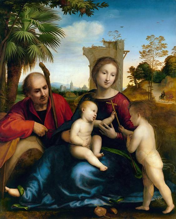 Бартоломео фра (Баччо делла Порта) (Флоренция 1472-1517) - Отдых на пути в Египет с Иоанном Крестителем (129х106 см) ок1509. J. Paul Getty Museum