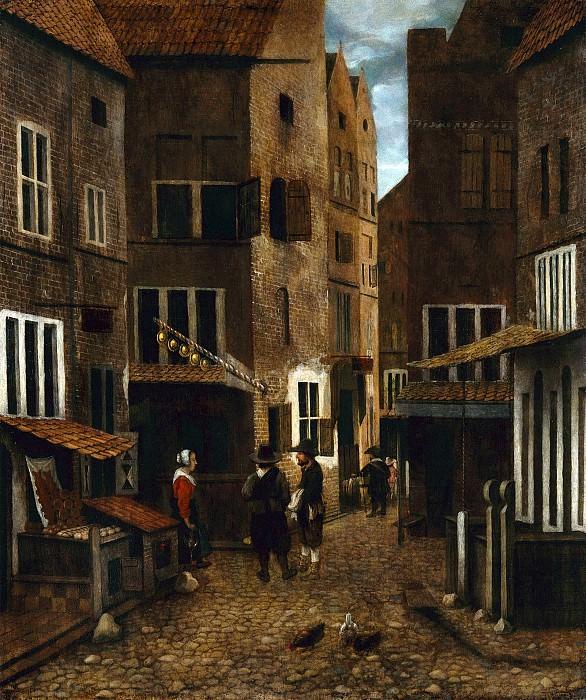Врель Якобус (работал в Делфте и Харлеме в 1654-62) - Уличная сцена (41х34 см) 1654-62. Музей Гетти