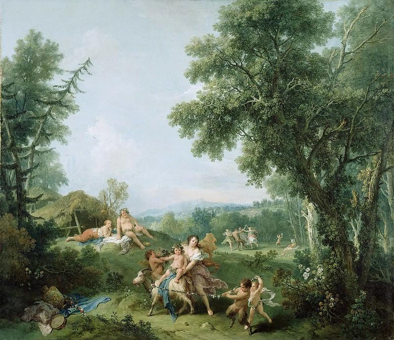 Дзуккарелли Франческо (1702 Питильяно - 1788 Флоренция) - Пейзаж с обучением Вакха (129х150 см) 1744. J. Paul Getty Museum