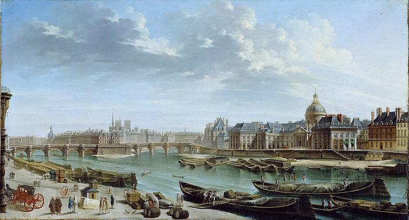 Рагне Никола-Жан-Батист (Жентильи 1715-1793) - Вид Парижа с островом Ситэ (44х82 см) 1763. Музей Гетти