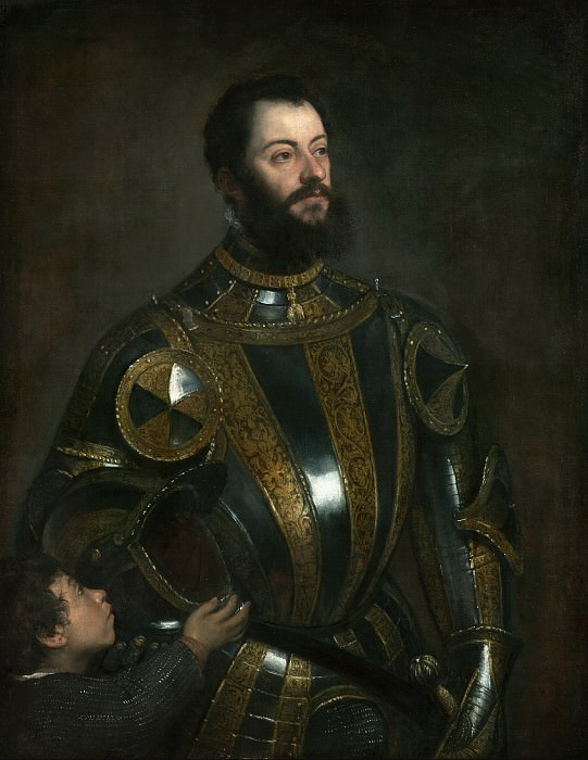 Portrait of Alfonso d'Avalos, Marquis of Vasto, in Armor with a Page. Titian (Tiziano Vecellio)