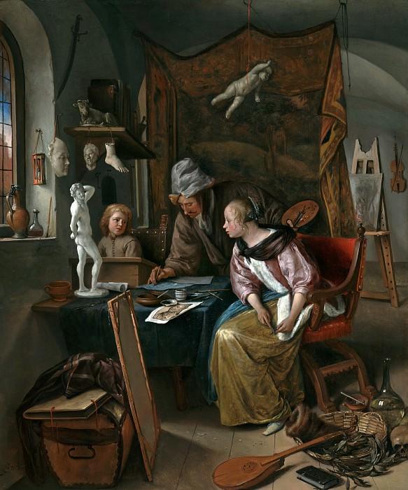 Стен Ян Хавикс (Лейден 1626 - 1679) - Урок рисования (49х41 см) ок1665. J. Paul Getty Museum