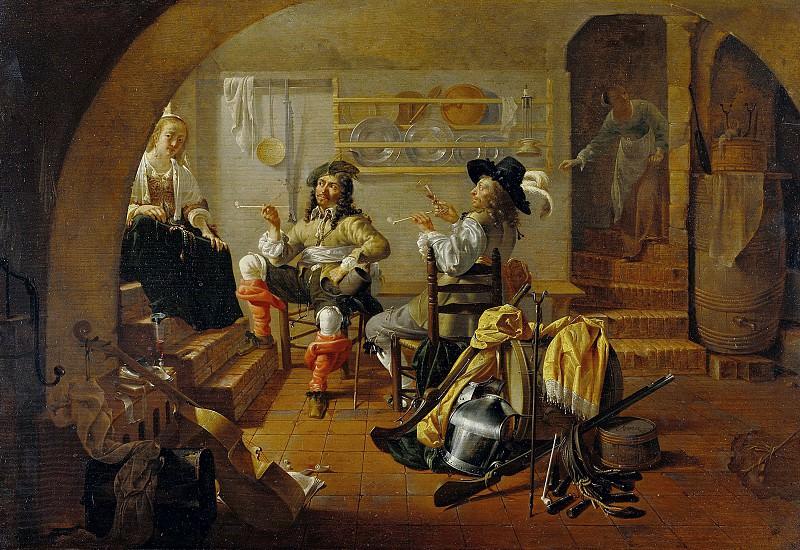 Дюк Якоб (Утрехт 1600-1667) - Интерьер с солдатами и женщинами (42х61 см) ок1650. J. Paul Getty Museum