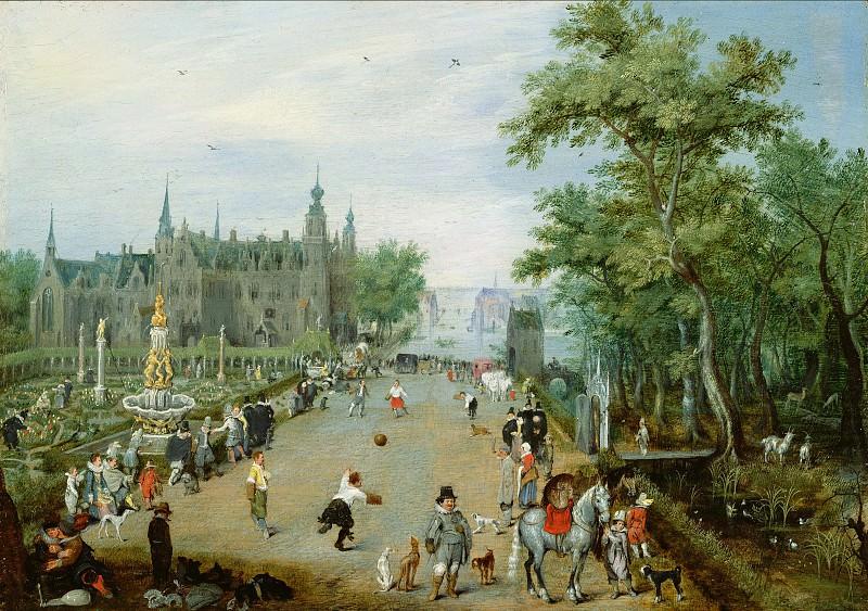 Венне Адриан Питерс ван де (1589 Делфт - 1662 Гаага) - Игра же-де-пом (прообраз тенниса) близ загородной виллы (16х23 см) ок1614. J. Paul Getty Museum