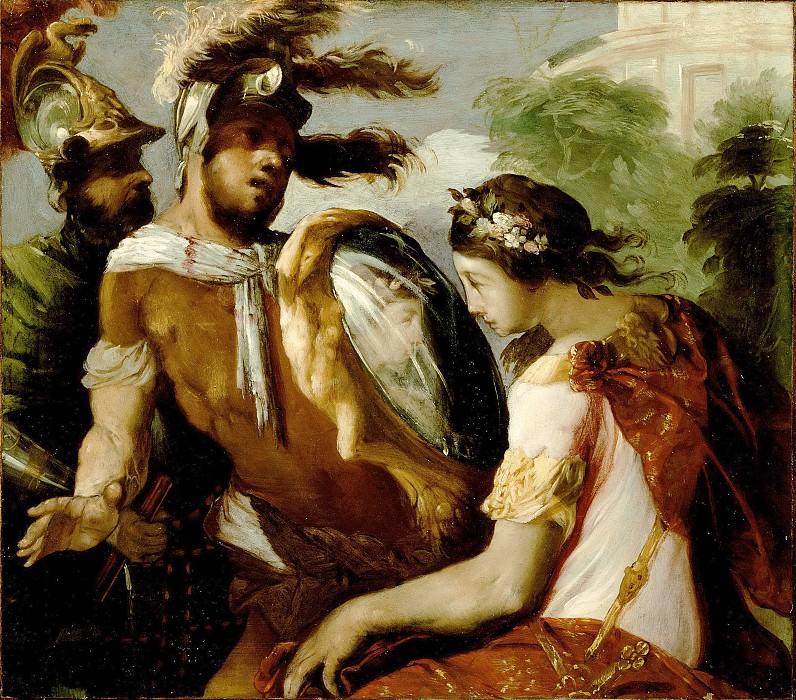 Маффеи Франческо (ок1600 Виченца - 1660 Падуя) - Ринальдо и зеркальный щит (30х34 см) 1650-55. Музей Гетти