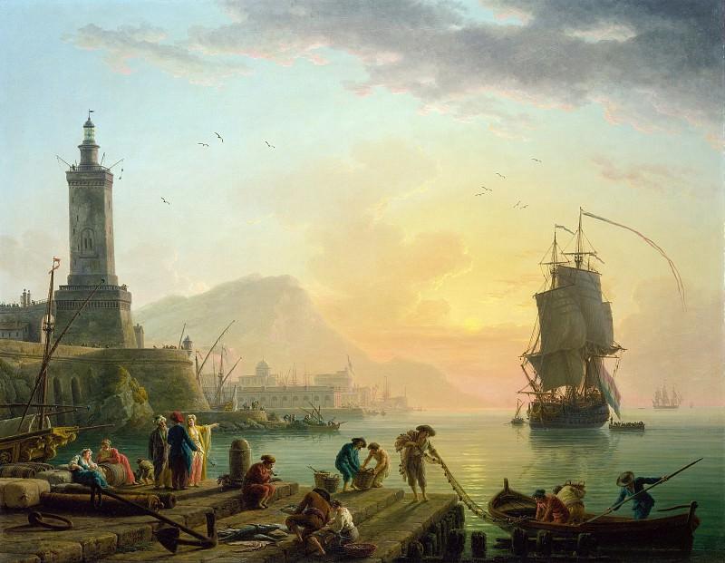 Верне Клод-Жозеф (1714 Авиньон - 1789 Париж) - Штиль в средиземноморском порту (113х145 см) 1770. Музей Гетти