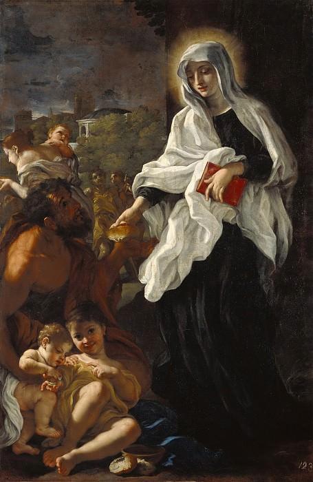 Бачиччо (Джованни Баттиста Гаулли) (1639 Генуя - 1709 Рим) - Св Франческа Римская, творящая милостыню (210х137 см) ок1675. Музей Гетти