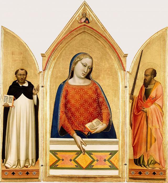 Дадди Бернардо (Флоренция ок1280- 1348) - Триптих Мадонна со свв Фомой Аквинским и Павлом (105х28,120х56 см) ок1330. J. Paul Getty Museum