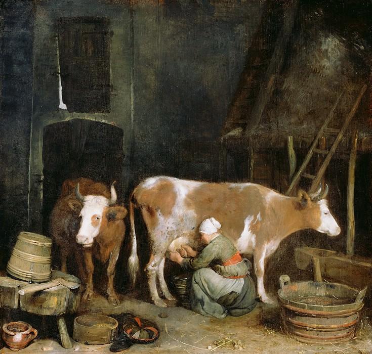 Терборх Герард II (1617 Зволле - 1681 Девентер) - Доение коровы в хлеву (47х50 см) 1652-54. J. Paul Getty Museum