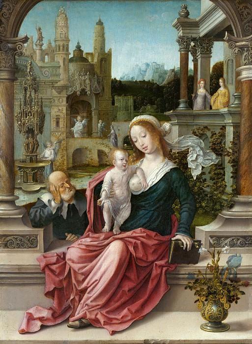 Госсарт Ян (Мабюзе) (ок1479 Мобёж - 1532 Миддельбург) - Святое Семейство (46х34 см) ок1510. J. Paul Getty Museum