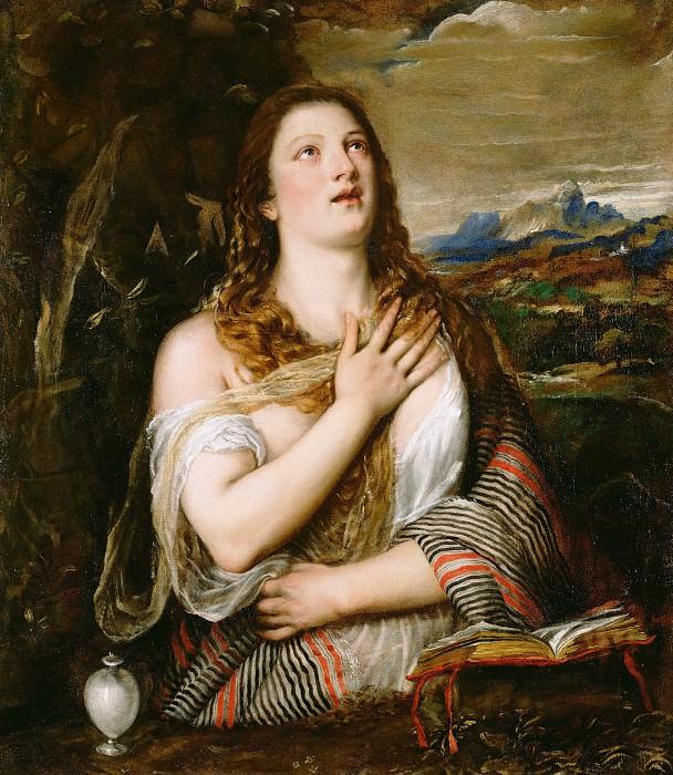 Тициан (Тициано Вечеллио (1488-89 Пьеве-ди-Кадоре - 1576 Венеция) - Кающаяся Мария Магдалина (106х93 см) 1555-65. Музей Гетти