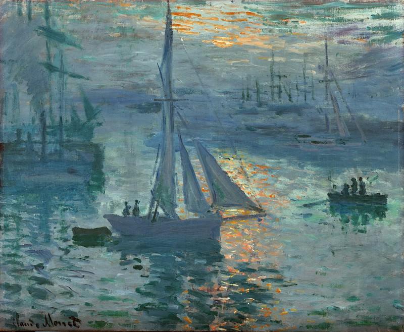 Моне Клод-Оскар (1840 Париж - 1926 Живерни) - Восход солнца (49х60 см) 1873. Музей Гетти