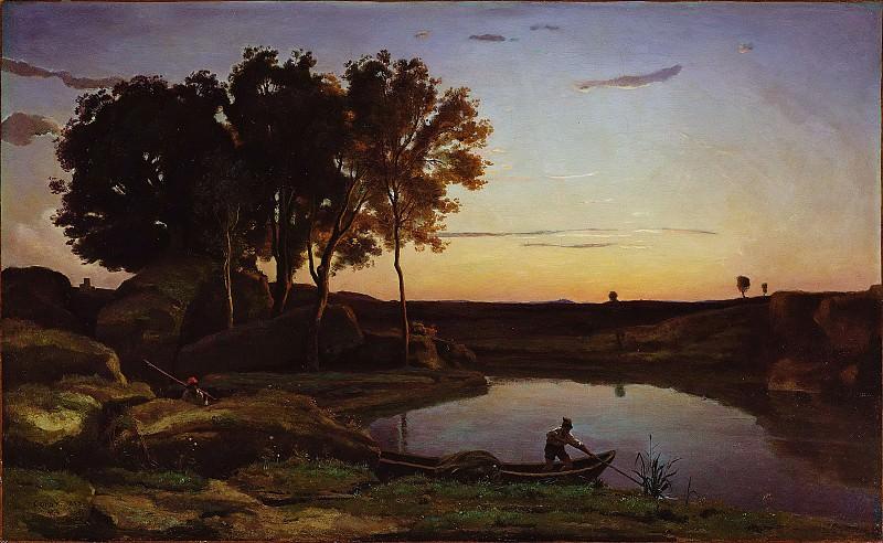Коро Жан-Батист-Камиль (Париж 1796-1875) - Пейзаж с лодочником на озере (62х103 см) 1839. J. Paul Getty Museum