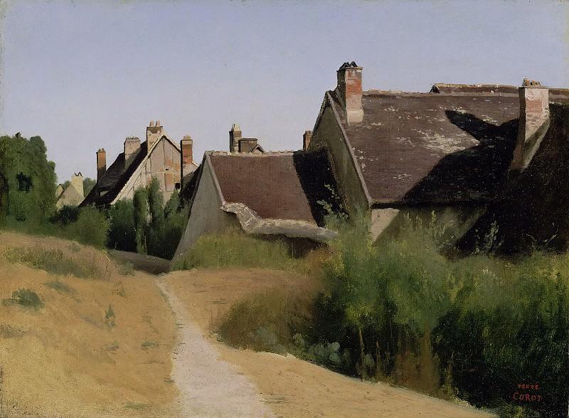 Коро Жан-Батист-Камиль (Париж 1796-1875) - Дома близ Орлеана (28х38 см) ок1830. J. Paul Getty Museum
