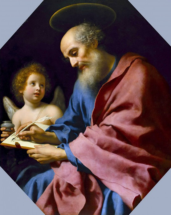 Дольчи Карло (Флоренция 1616-1686) - Св Матвей, пишущий евангелие (136х113 см) 1670-е. J. Paul Getty Museum