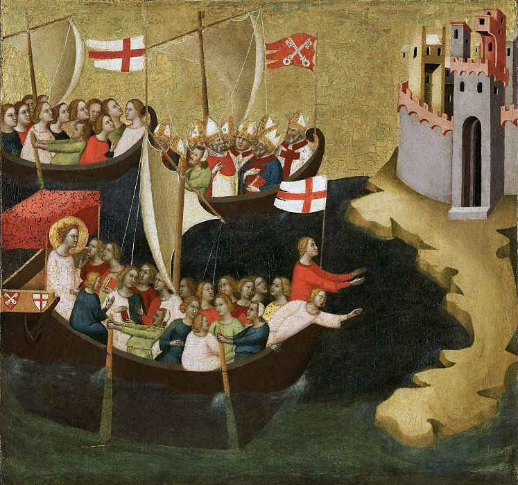 Дадди Бернардо (Флоренция ок1280- 1348) - Прибытие св Урсулы в Кельн (60х63 см) ок1333. J. Paul Getty Museum