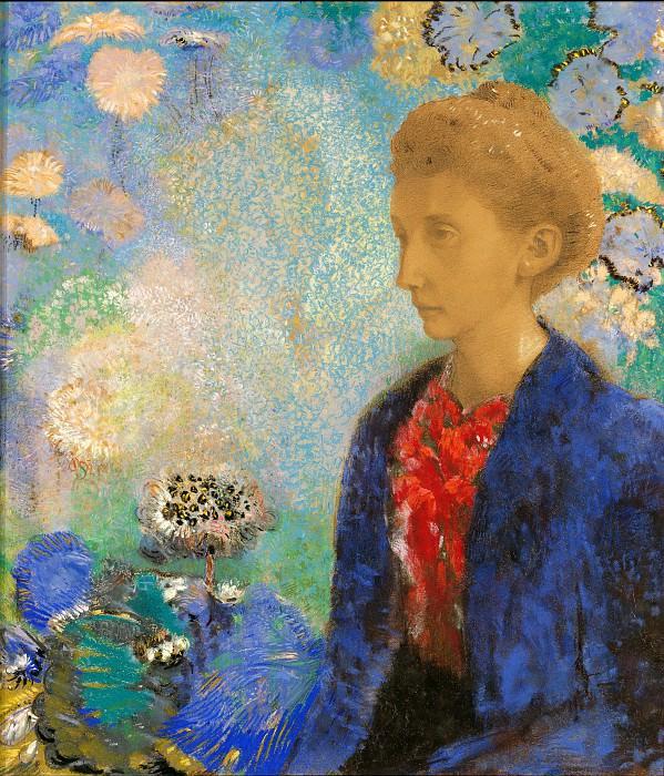 Редон Одилон (1840 Бордо - 1916 Париж) - Баронесса Домси (61х43 см) ок1900. Музей Гетти