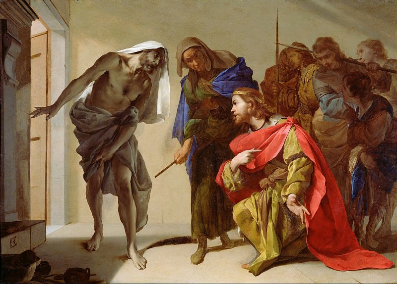 Каваллино Бернардо (Неаполь 1616-1656) - Саул и тень Самуила (61х86 см) 1650-56. Музей Гетти