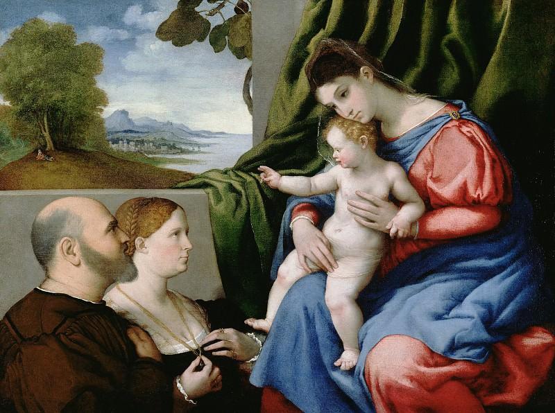 Лотто Лоренцо (ок1480 Венеция - 1556 Лорето) - Мадонна с младенцем и донаторами (85х115 см) 1525-30. J. Paul Getty Museum