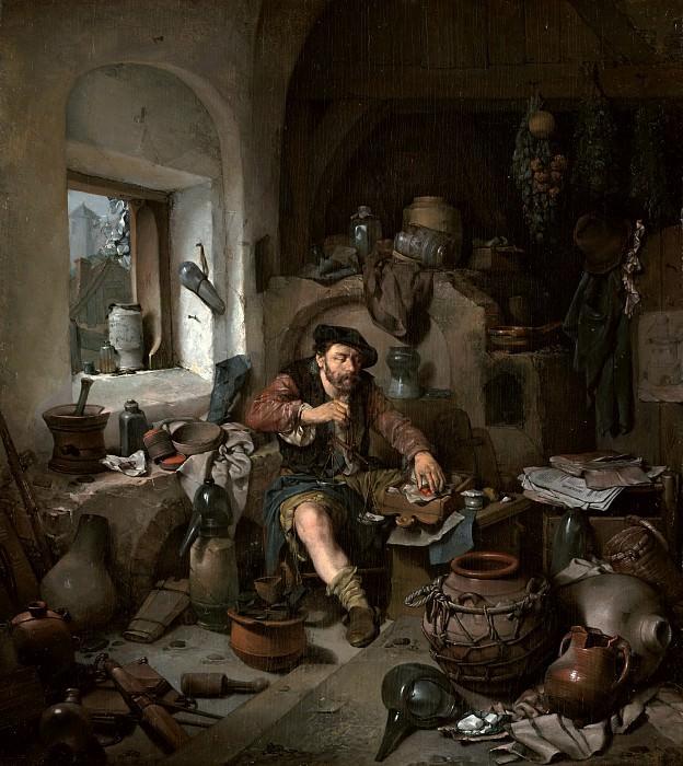 Бега Корнелис Питерс (Харлем 1631-1664) - Алхимик (35х32 см) 1663. J. Paul Getty Museum