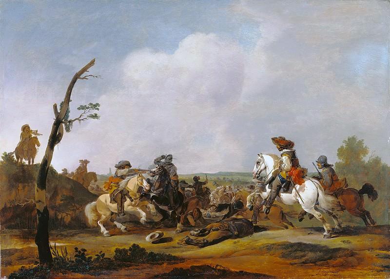Лингельбах Иоганн (1622 Франкфурт - 1674 Амстердам) - Сцена битвы (60х84 см) ок1652. Музей Гетти