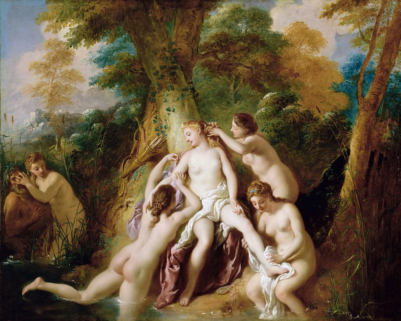Труа Жан Франсуа де (1679 Париж - 1752 Рим) - Купающиеся Диана и нимфы (74х92 см) 1722-24. J. Paul Getty Museum
